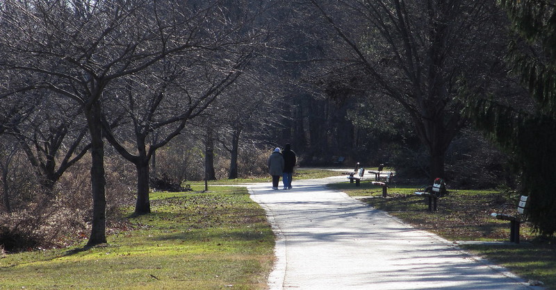 Couple walking at Van Saun County Park in New Jersey