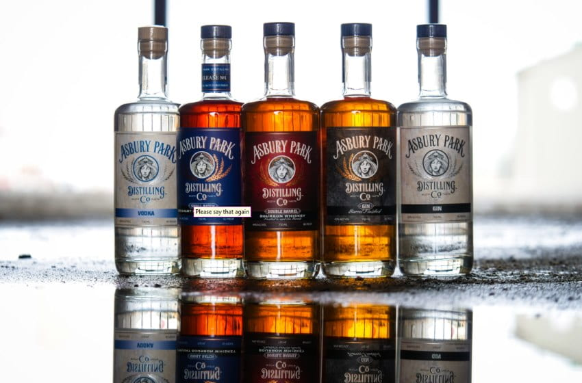 Image of 5 bottles of distilled booze from the Asbury Park Distilling Company