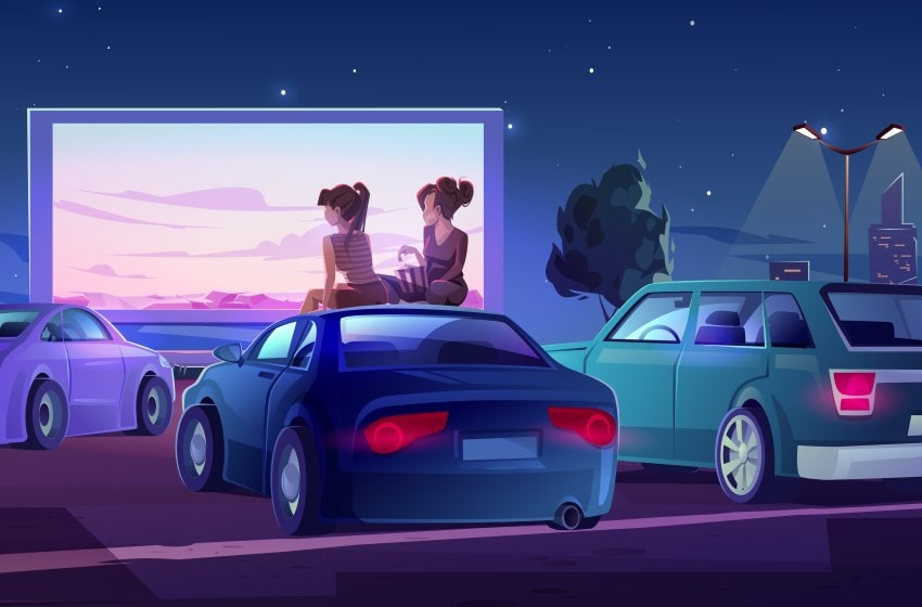 Vector image of two girls sitting on top of the roof of a car at a drive up movie theater in NJ