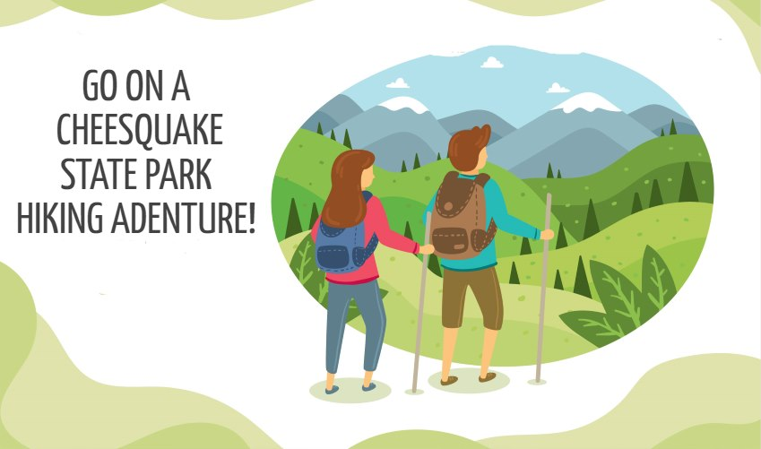 Vector image of two hikers getting ready to tacklew the Cheesequake State Park hiking trails