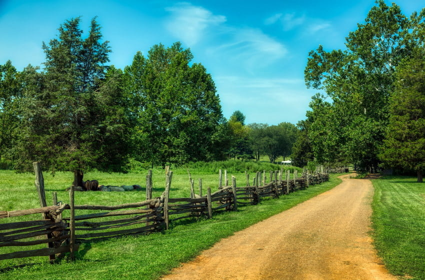 Image of a dirt road on a NJ farm