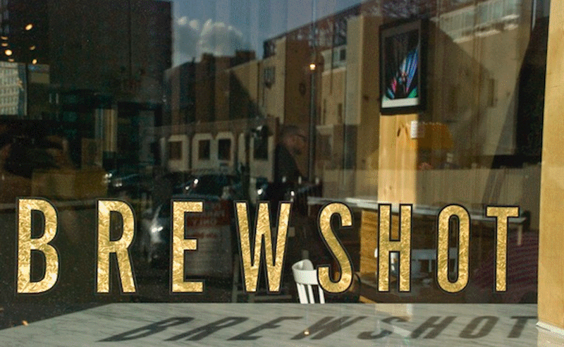 A window shot of the Brewshot coffe in New Jersey