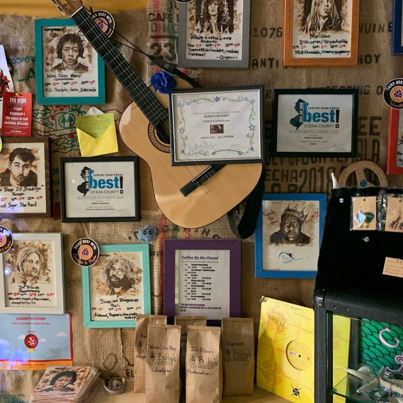 Image of music memorabilia on the wall at Bubby's Beanery one of New Jerseys best coffee shops