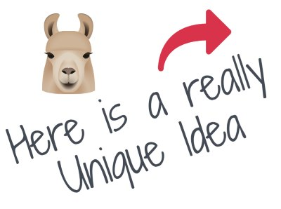 """Image of a llama vector with the description that says """"here is a really unique idea"""""""