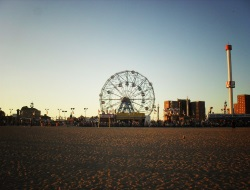 Boardwalk and Beach in Cony Island NY