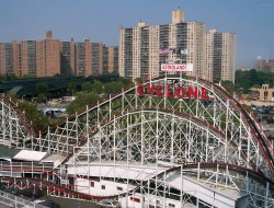 Cyclone Roller Coasters on the Coney Island NY Boardwalk