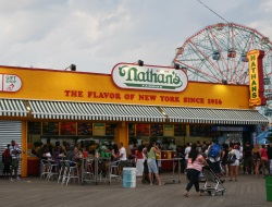 Nathan's Famous Hot Dogs Places to Eat on the Coney Island NY Boardwalk