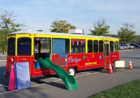 Partique Jolly Trolley traveling party bus in Bergen County New Jersey