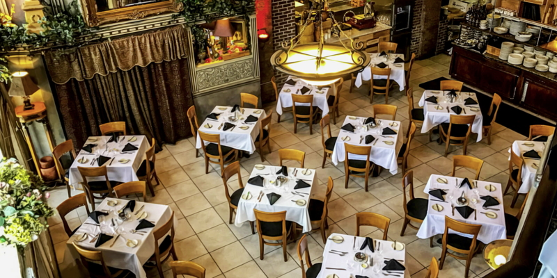 Image of the dining room at Buona Sera Ristorante in Red Bank, NJ as one of the most romantic restaurants for a date.=