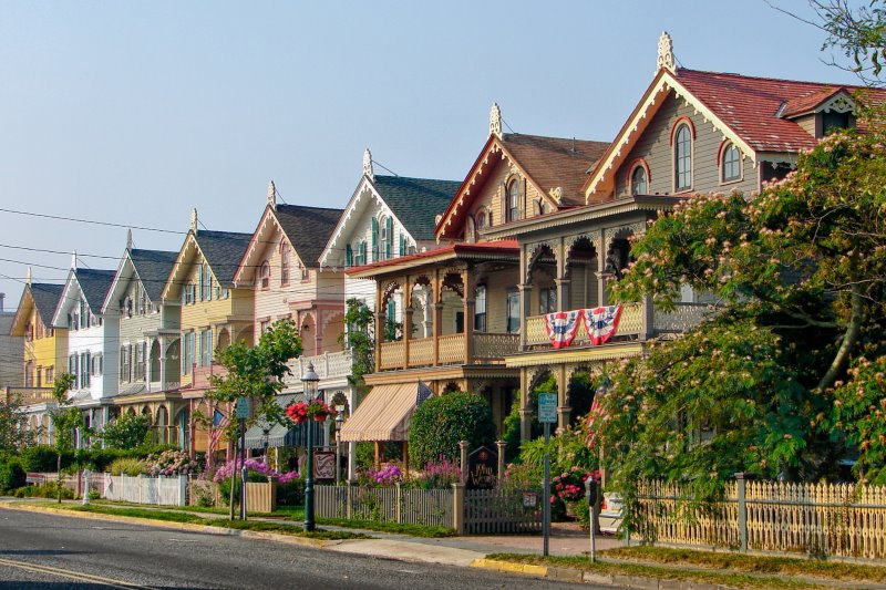 Photo of a beautiful row of houses with dirrerent pastel colors in Cape May NJ