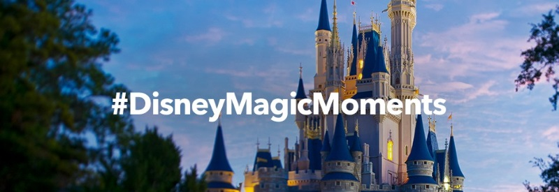 Image of the Disney palace with the hashtag DisneyMagicMoments