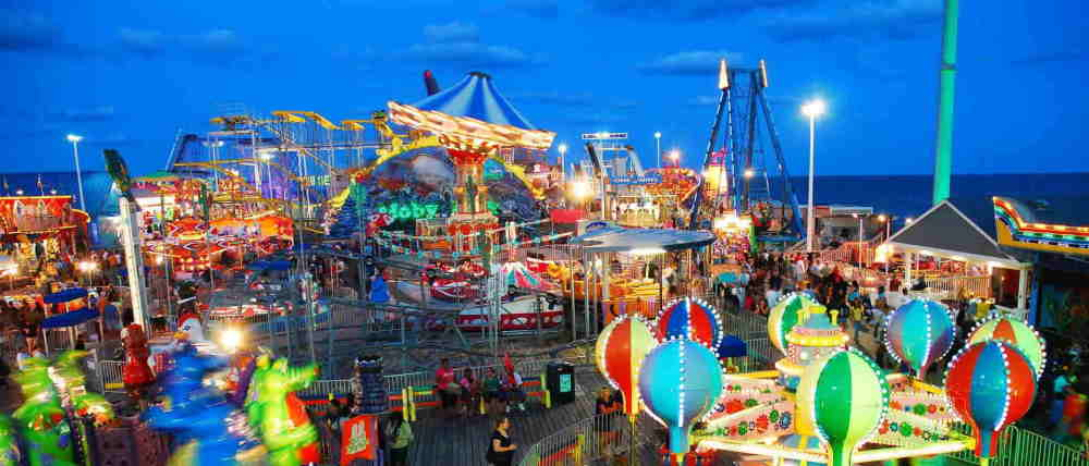 Ariel Image of the rides at casino pier in Seaside Heights NJ
