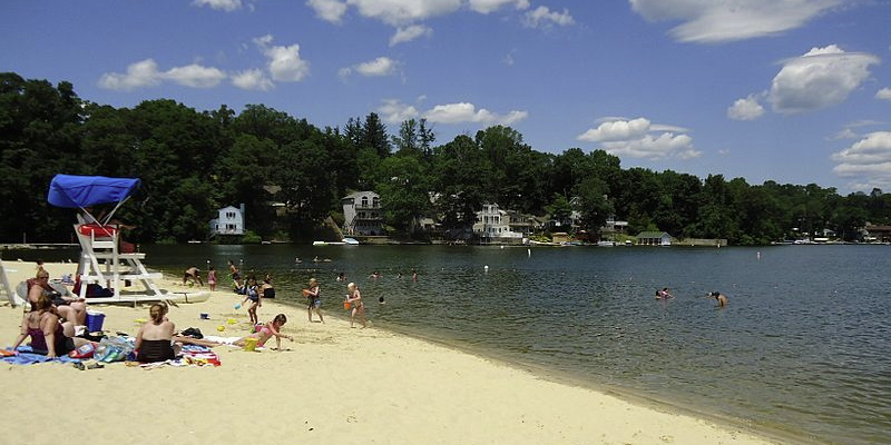 Image of the beach area at Lake Hopatcong one of the best attractions for children in NJ