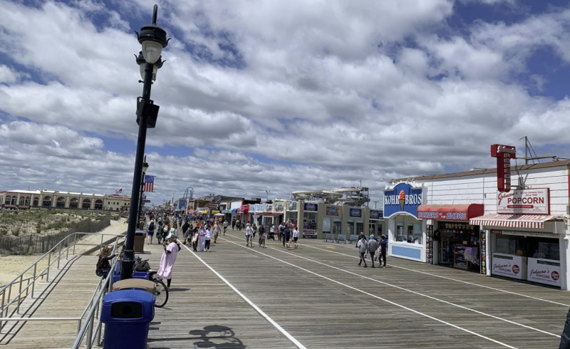 Image of the Ocean City boardwalk on a sunny day as a free attraction to enjoy in NJ