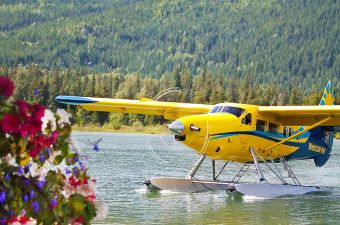 Image of an airplane on the water surrounded by trees showing an airplane tour as one of the best tours in NJ