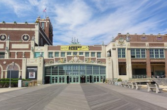 Photo of the front of the Asbury Park boardwalk entrance as part of the New Jersey Shore