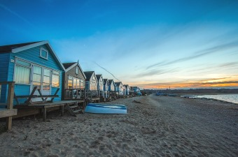 Image of houses on the beach as a camping cabin rental in NJ