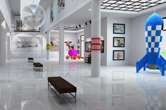 Image of the inside of a museum in NJ with art on the walls