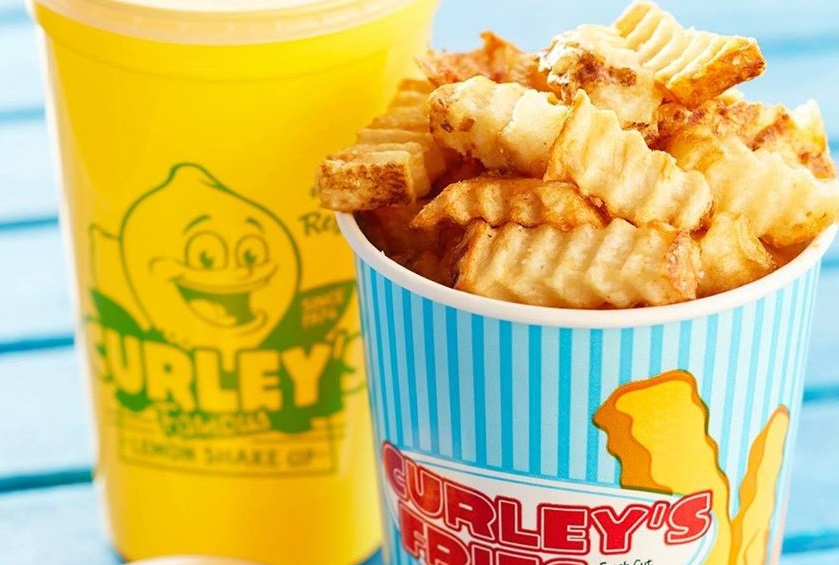 A photo of a cup of fries from Curleys