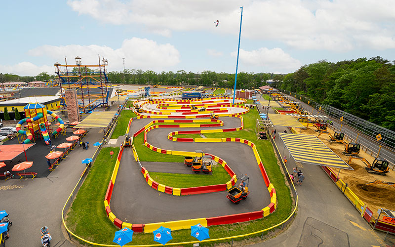 Diggerland theme & water park including ropes course, rock wall, tractors, and other real machines kids can drive for fun in West Berlin, NJ