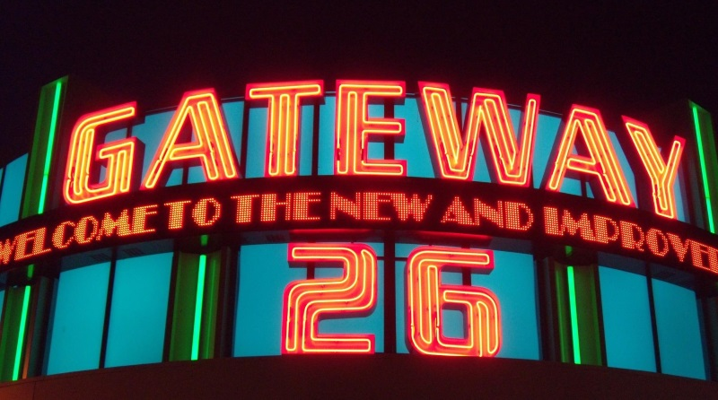 A neon sign that says gateway 26