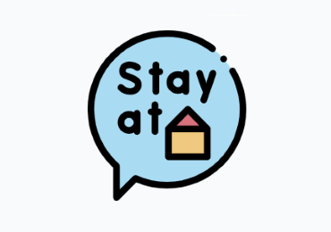 Image of a callout  that says stay at home representing Virtual at home activities and events in NJ