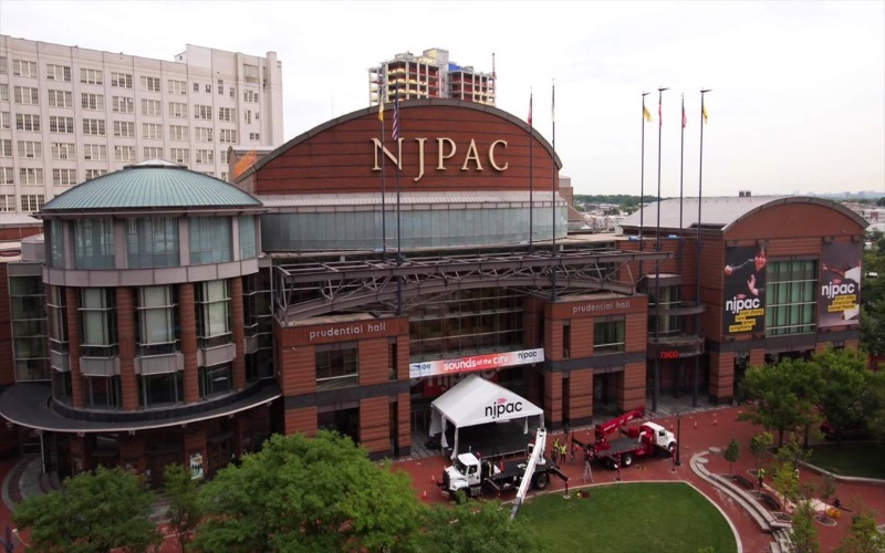 Ariel image of the prudential hall NJPAC red brick building.