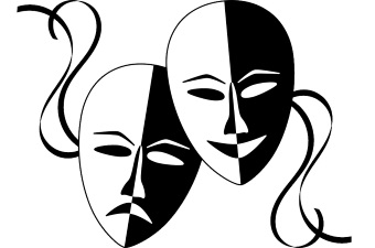 Two drama masks displaying acting schools as a way to learn in NJ