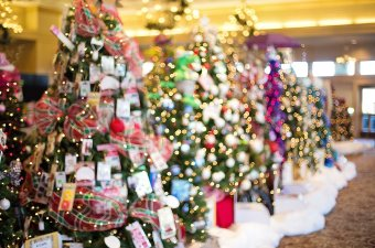 Photo of Christmas trees with gifts under them as a holiday attraction in NJ